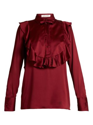Valentino ruffled bib satin blouse