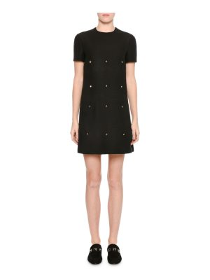Valentino Short-Sleeve Scalloped Rockstud Dress