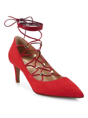 Valentino Suede Lace-Up Pumps