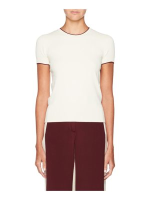 Valentino Tipped Short-Sleeve Sweater