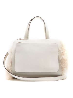 VALEXTRA passepartout medium shearling trimmed leather bag