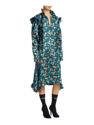 VETEMENTS silk biker floral-print midi dress