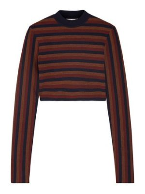 Victoria Beckham cropped striped stretch wool