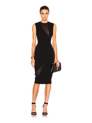 Victoria Beckham Double Crepe & Georgette Fitted Dress