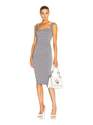 Victoria Beckham Graphic Houndstooth Cami Fitted Dress