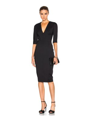 Victoria Beckham Microbrush Short Sleeve Fitted Dress