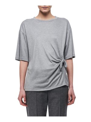 Victoria by Victoria Beckham Knotted-Side Cotton T-Shirt