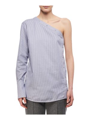 Victoria by Victoria Beckham One-Shoulder Striped Button Top
