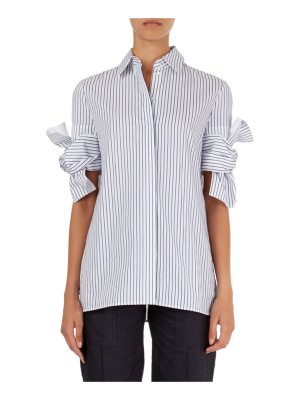 Victoria by Victoria Beckham Striped Shirt with Knotted-Bow Cuffs