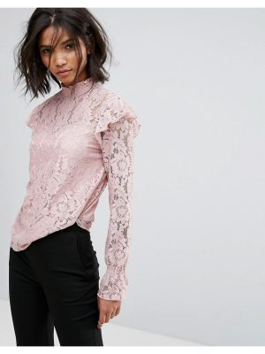 Vila High Neck All Over Long Sleeve Lace Shell Top