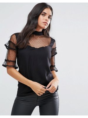 Vila Ruffle Sleeve Top