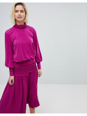 Warehouse Blouson Sleeve Turtleneck Top