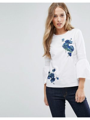 Warehouse Flare Sleeve Floral Embroidered Top