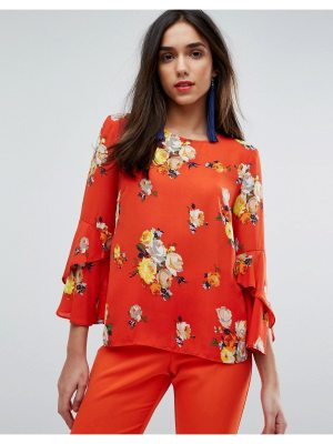 Warehouse Floral Print Fluted Sleeve Top
