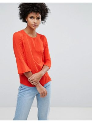 Warehouse Fluted Sleeve Textured Top