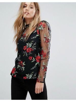 Warehouse Premium Floral Embroidered Top