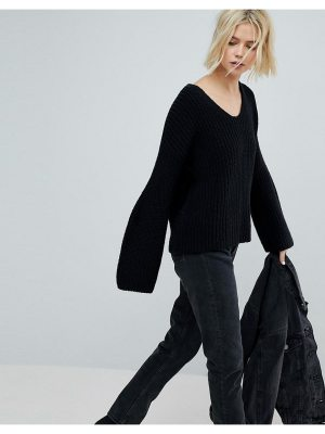 Weekday V Neck Ribbed Knit Sweater