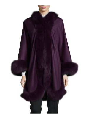WOLFIE FURS Dyed Fox Fur Cashmere Cape