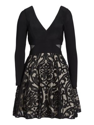 Xscape embroidered jersey party dress