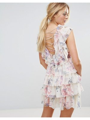 Y.A.S ruffle floral lace up back mini dress