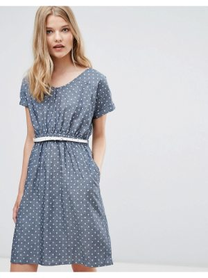 Yumi Belted Dress In Chambray Spot