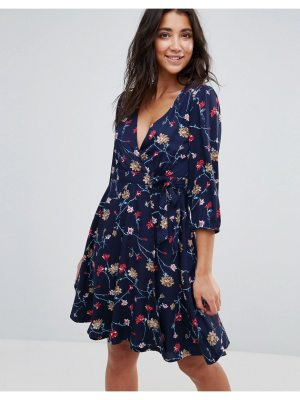 Yumi Wrap Front Dress In Floral Print