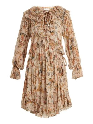 Zimmermann Painted Heart Floral Print Ruffled Silk Dress