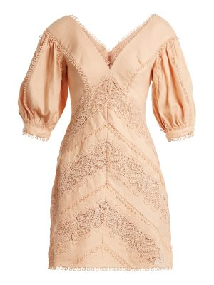 Zimmermann Painted Heart Lace Panel Linen Dress