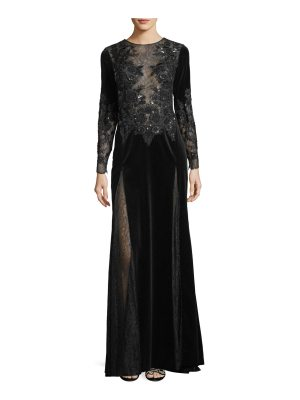 Zuhair Murad Long-Sleeve Embroidered Velvet Evening Gown with Lace