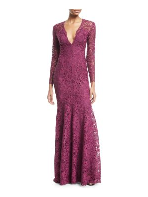 Zuhair Murad Plunging Long-Sleeve Lace Guipure Evening Gown